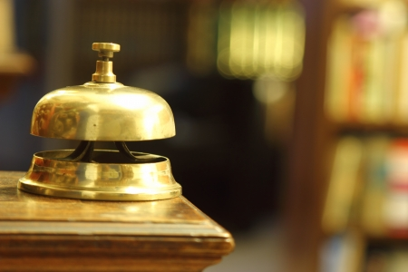 hotel brass bell in warm ambient