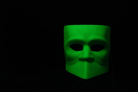 mistery mask green with light sign photo