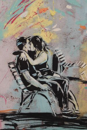 urban and fantasy scene of love painted on a wall