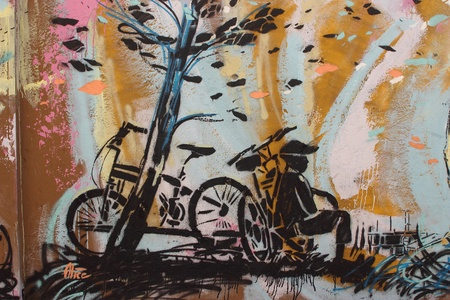 bycicle graffiti in a public street