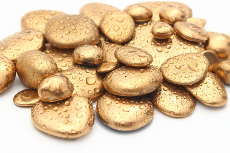 richness: Richness of gold pebbles or nuggets Stock Photo