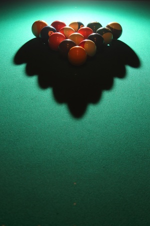 Billiards - Pool table with balls, shadow and light photo