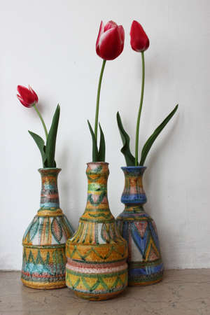 Three Tulips In Three Vases Stock Photo Picture And Royalty Free