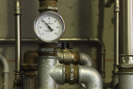 Heating system pressure gauge in a eco-house photo