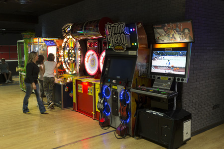 videogame: Rome, Italy, 05122015 - Videogame room in the Brunswick leisure centre