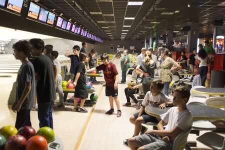 secondary school: Rome, Italy, 05122015 - Childrens bowling match in Brunswick bowling center. Special children lanes were used for this match among children of secondary school, 11 years old Editorial
