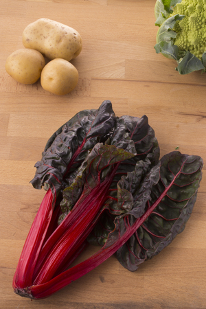 pomme de terre: Red chard with potatoes and broccoli Stock Photo