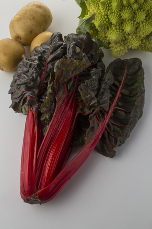 pomme: Red chard with potatoes and broccoli Stock Photo