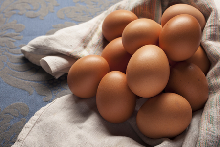 Composition of many eggs in the kitchen