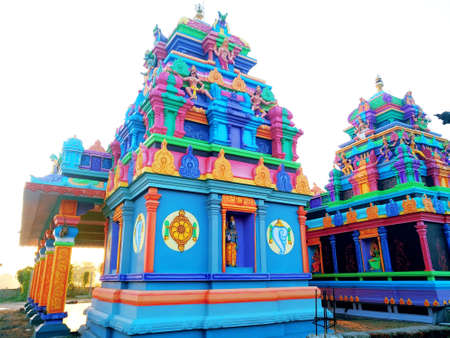 Back view of beautiful temples in India