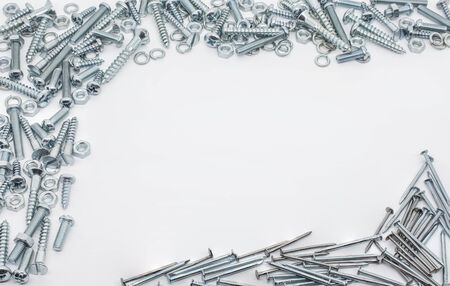 woodscrew: Collection Of Iron Screws, Nuts, Nails And lockwashers Above And Below