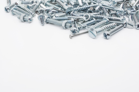 woodscrew: Collection Of Iron Screws, Nuts and lockwashers Above Stock Photo