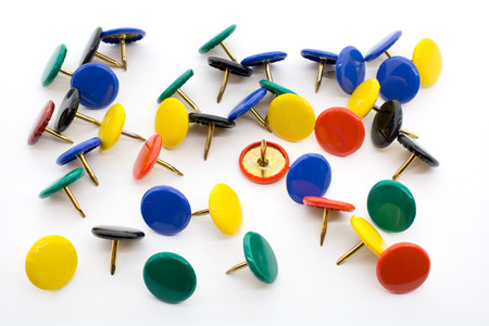 brads: Macro Shot of A Collection of Colored Thumbtacks Stock Photo