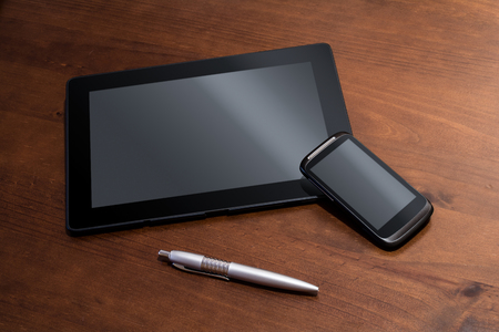 telework: Telework With Tablet, Smartphone And Pencil