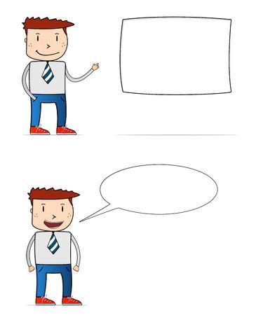 zapatos caricatura: El hombre de negocios de dibujos animados con la caja de texto