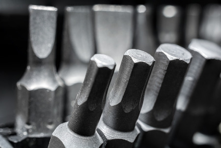 slotted: Macro Collection Of Phillips, Torx, Star And Slotted Bits 3 Stock Photo