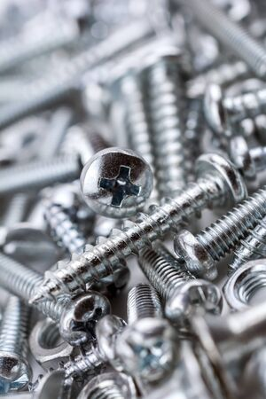 woodscrew: A Big Collection Of Various Iron Screws and Bolt Nuts 2 Stock Photo
