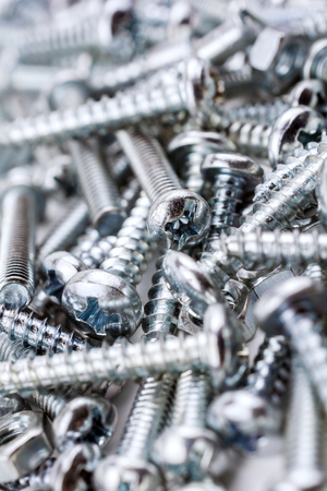 woodscrew: A Big Collection Of Various Iron Screws and Bolt Nuts 1 Stock Photo