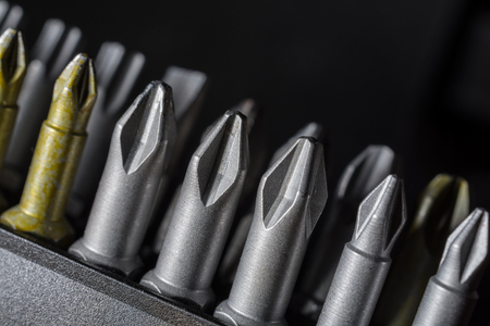 conjoin: Macro Collection Of Phillips, Torx, Star And Slotted Bits 5 Stock Photo