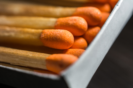 Macro Of Some Matches In A Matchbox 1 Stock Photo