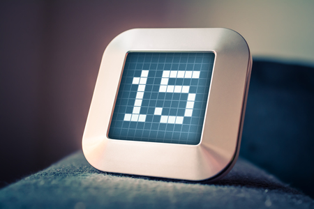 The Number 15 On A Digital Calendar, Thermostat Or Timer