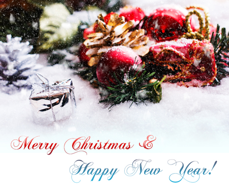 Christmas Decoration With Text Merry Christmas And Happy New Year