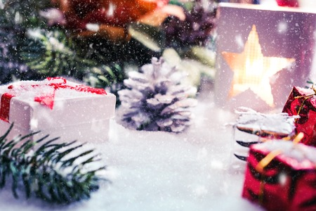 Christmas Decoration With White Lantern, Presents And Falling Snow Stok Fotoğraf