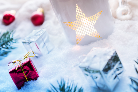 Snowy Christmas Decoration With Lantern And Presents