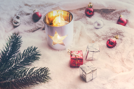 Snowy Vintage Christmas Decoration With Lantern