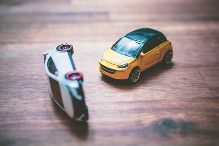 Toy Car Accident As A Concept Draft For Car Insurance Or Driving School