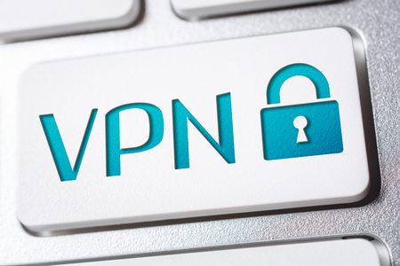 Macro Of The Word VPN With A Lock Security Icon On A Keyboard Button