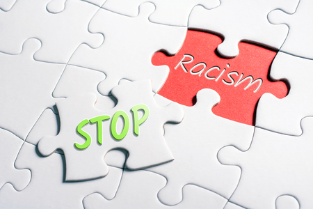 The Words Stop And Racism In Missing Piece Jigsaw Puzzle