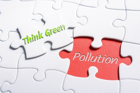 The Words Think Green And Pollution In Missing Piece Jigsaw Puzzle 스톡 콘텐츠