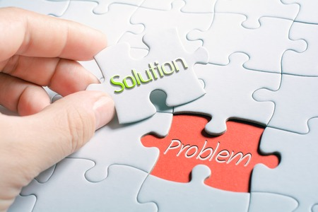 The Words Solution And Problem In Missing Piece Jigsaw Puzzle 스톡 콘텐츠
