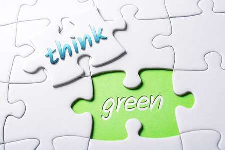 The Words Think And Green In Missing Piece Jigsaw Puzzle 스톡 콘텐츠