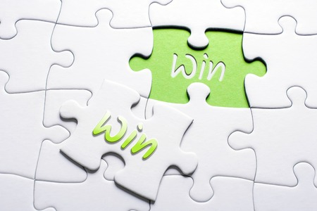 The Words Win And Win In Missing Piece Jigsaw Puzzle, Win-Win Situation Concept 스톡 콘텐츠