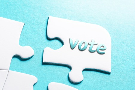 The Word Vote In Missing Piece Jigsaw Puzzle