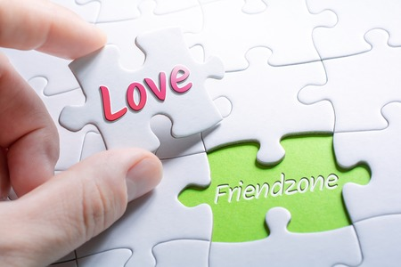 The Words Love And Friendzone In Missing Piece Jigsaw Puzzle