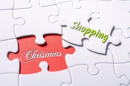 The Words Christmas And Shopping In Missing Piece Jigsaw Puzzle 스톡 콘텐츠