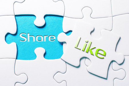 The Social Media Words Share And Like In Missing Piece Jigsaw Puzzle