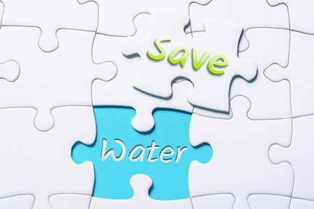 The Words Save And Water In Missing Piece Jigsaw Puzzle 스톡 콘텐츠