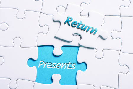 The Words Return And Presents In Missing Piece Jigsaw Puzzle