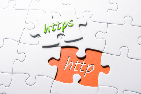 The Words HTTPS And HTTP In Missing Piece Jigsaw Puzzle