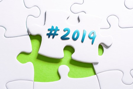 The Year 2019 With Hashtag In Missing Piece Jigsaw Puzzle