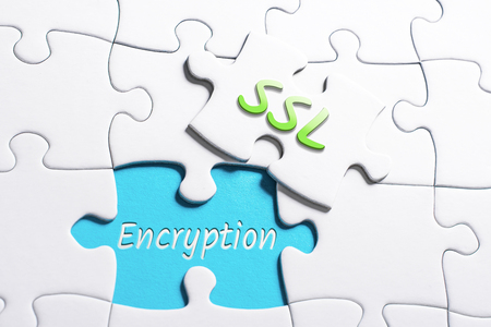 The Words SSL And Encryption In Missing Piece Jigsaw Puzzle