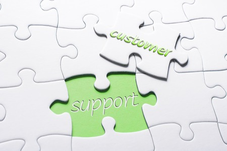 The Words Customer And Support In Missing Piece Jigsaw Puzzle