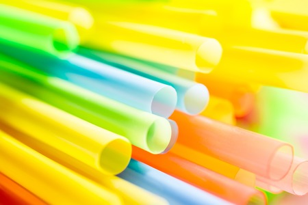 Macro Of A Bunch Colored Drinking Straws