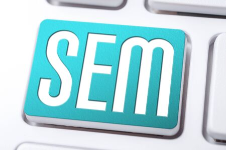Aqua SEM Search Engine Marketing Button On A White Keyboard, Business Concept
