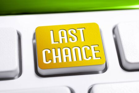 The Words Last Chance On A Yellow Keyboard Button, Last Chance For A Better Life Concept Stock Photo