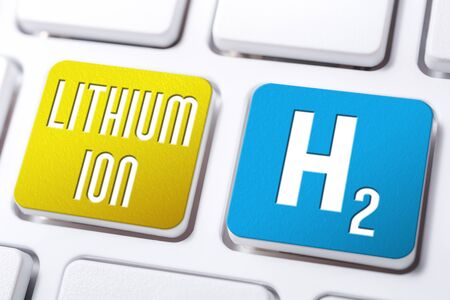 Lithium Ion And H2 Chemical Formula For Hydrogen On Keyboard Buttons, Future Energy Concept